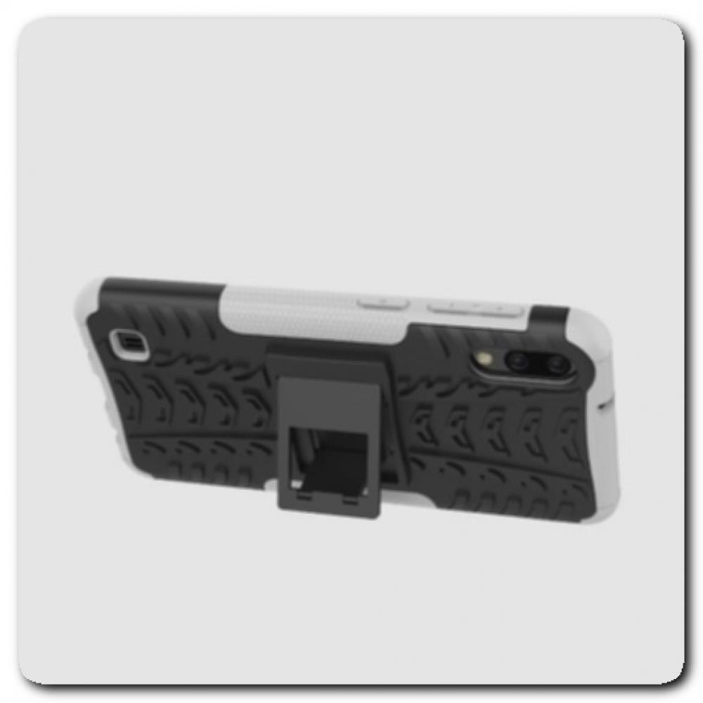Противоударный Усиленный Ребристый Hybrid Tyre Защитный Чехол для Samsung Galaxy M10 / Galaxy A10 с Подставкой Белый