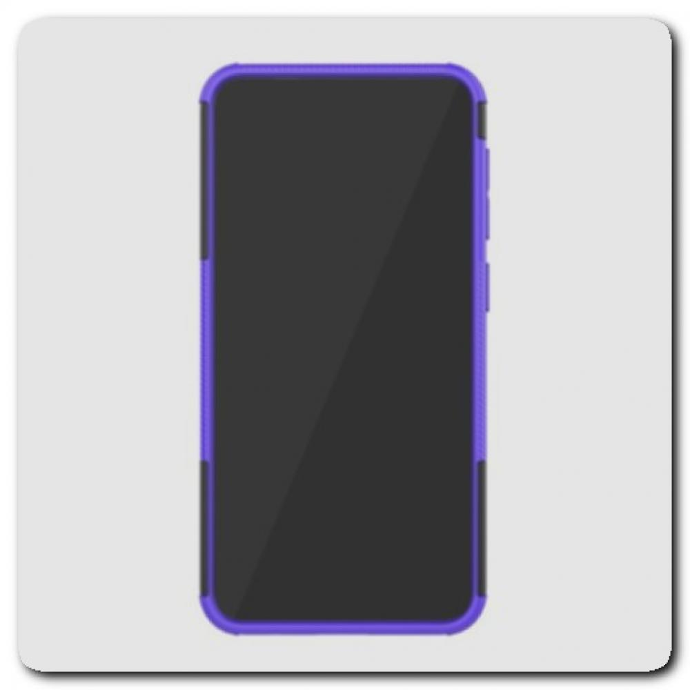 Противоударный Усиленный Ребристый Hybrid Tyre Защитный Чехол для Samsung Galaxy M10 / Galaxy A10 с Подставкой Фиолетовый