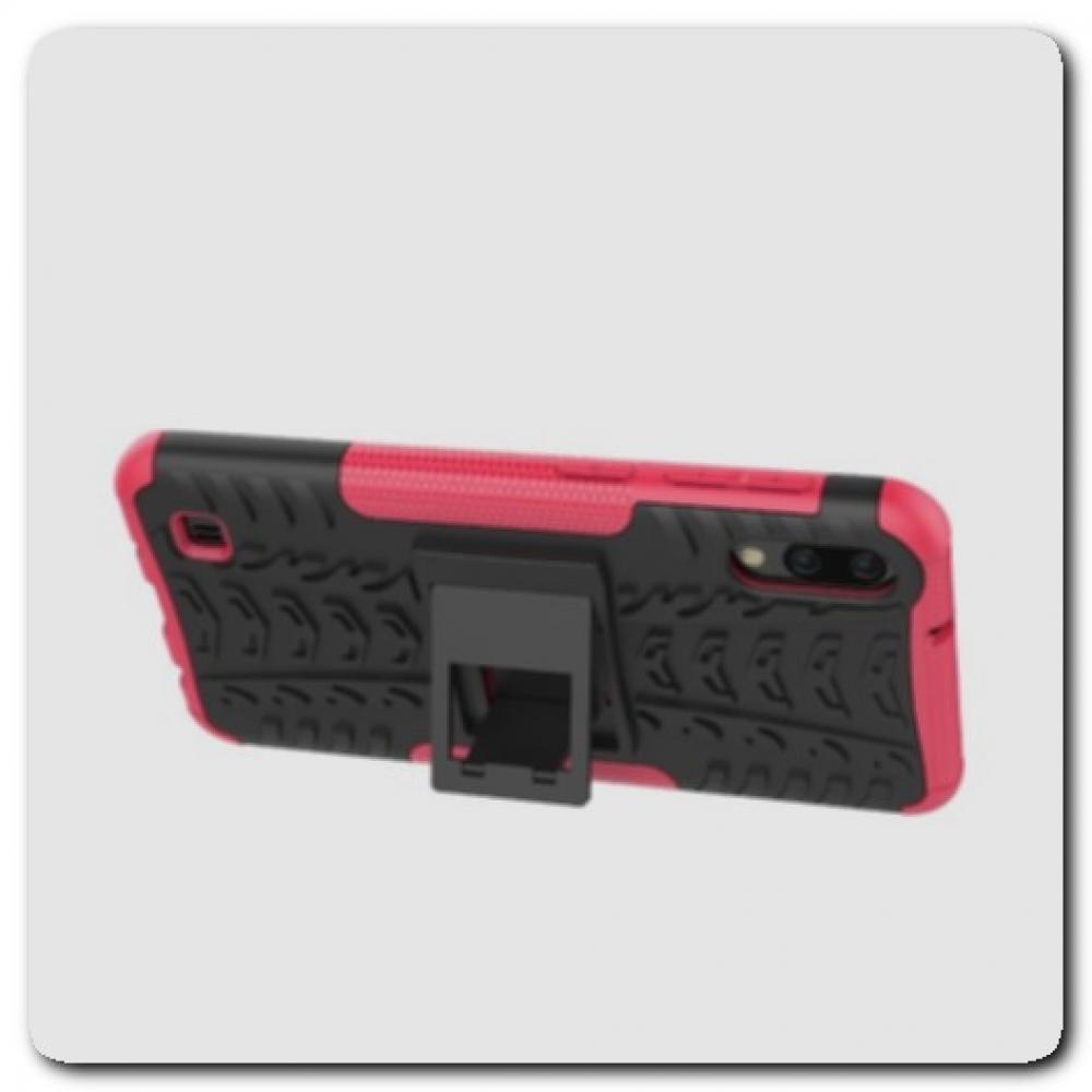 Противоударный Усиленный Ребристый Hybrid Tyre Защитный Чехол для Samsung Galaxy M10 / Galaxy A10 с Подставкой Ярко-Розовый