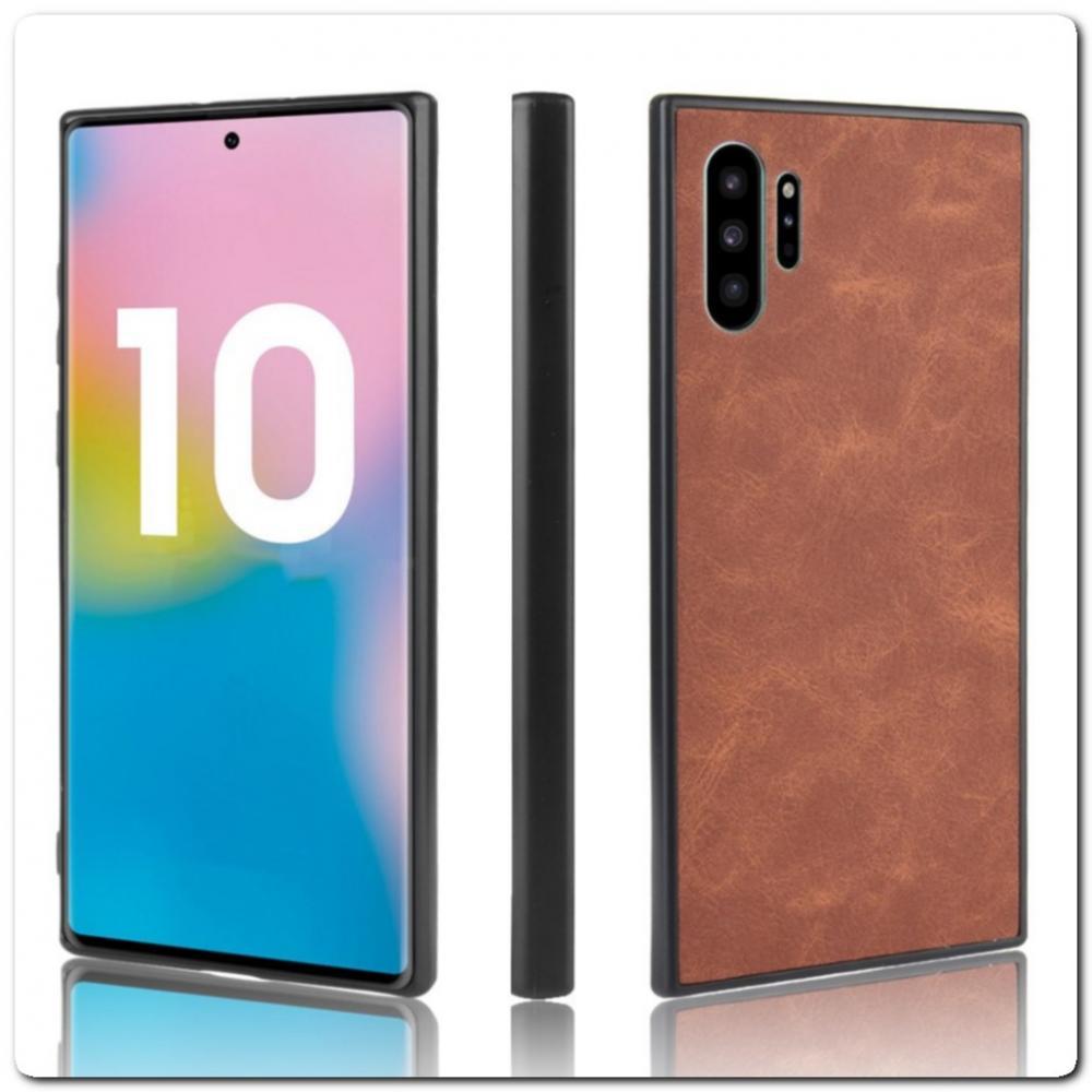 Силиконовый Чехол с PU Кожаным Покрытием для Samsung Galaxy Note 10+ / Note 10 Plus Коричневый