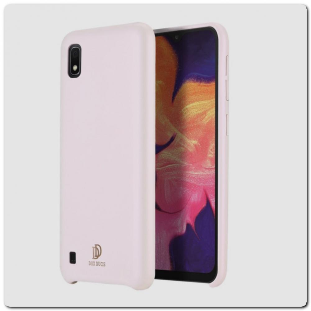 Тонкий Чехол Книжка DUX DUCIS из Гладкой Искусственной Кожи для Samsung Galaxy A10 Розовый