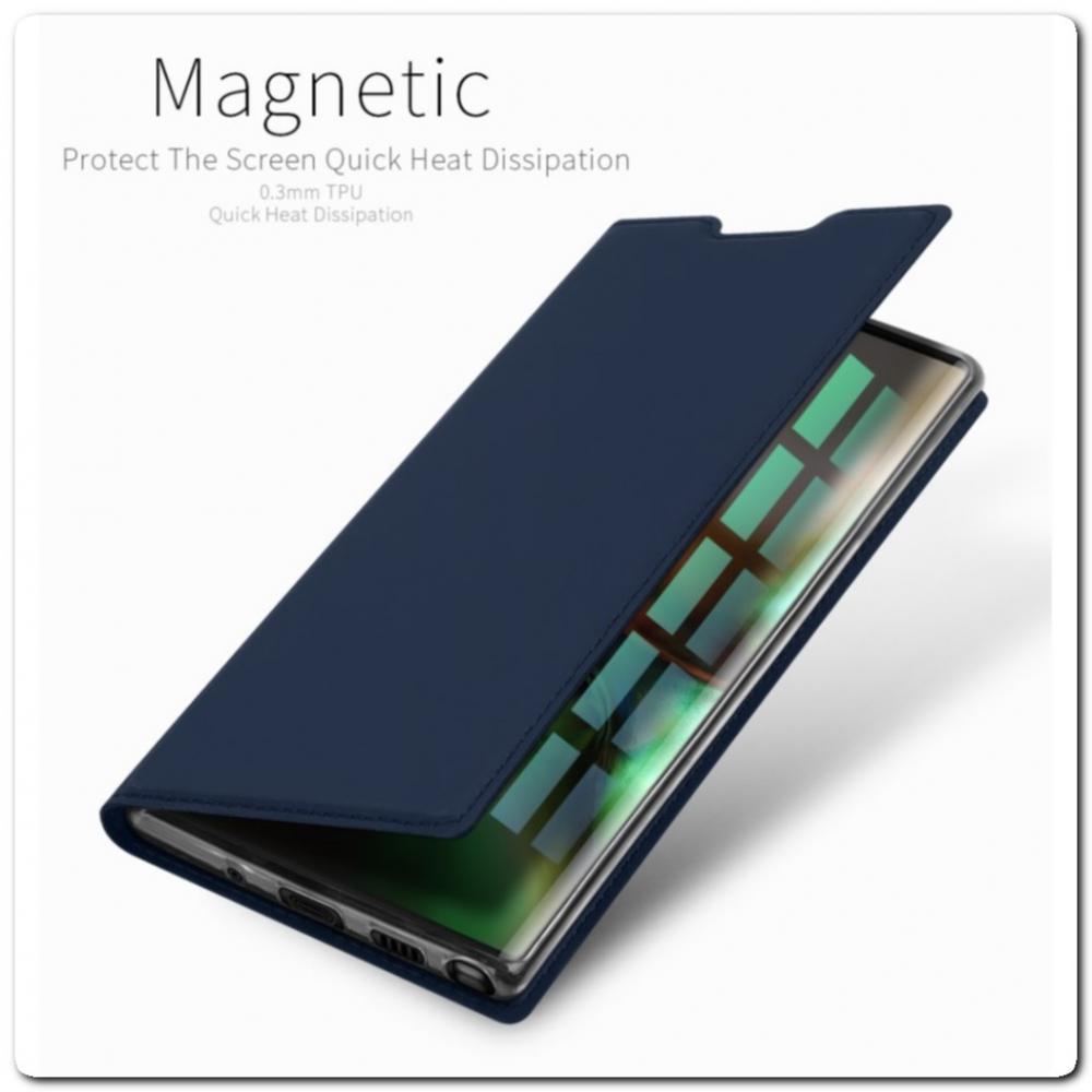 Тонкий Чехол Книжка DUX DUCIS из Гладкой Искусственной Кожи для Samsung Galaxy Note 10 Синий