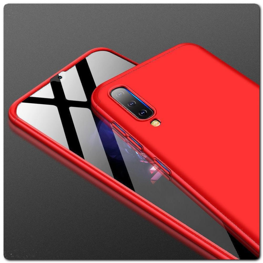 Тройной Съемный Пластиковый Чехол GKK 360° для Samsung Galaxy A50 Красный