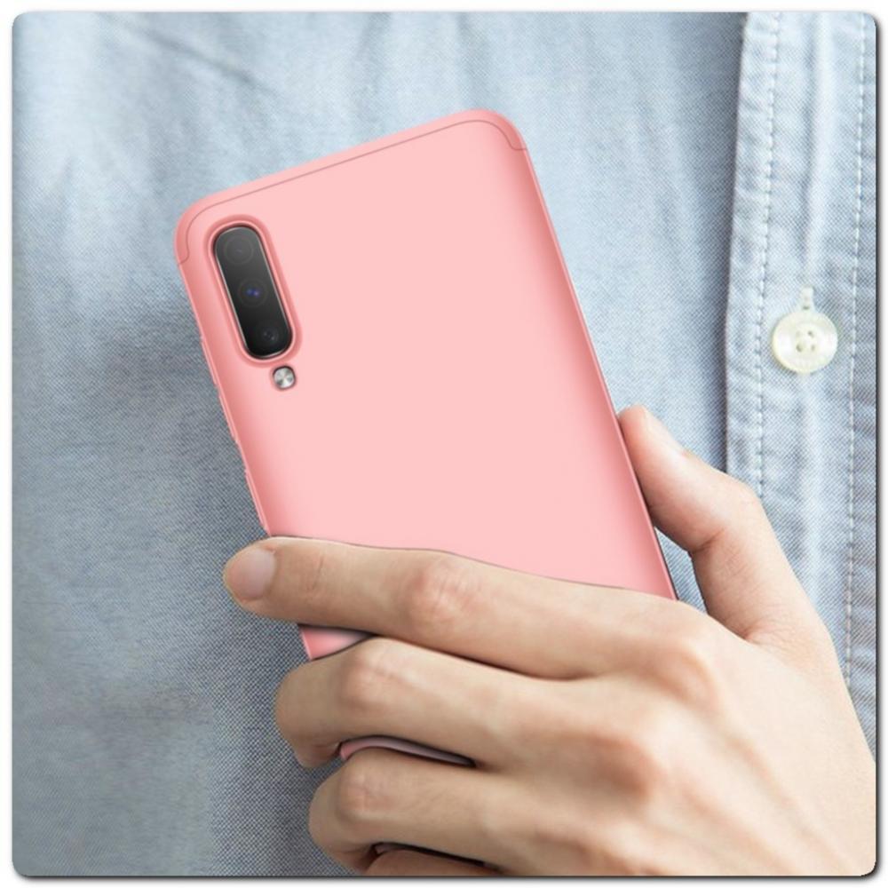 Тройной Съемный Пластиковый Чехол GKK 360° для Samsung Galaxy A70 Ярко-Розовый