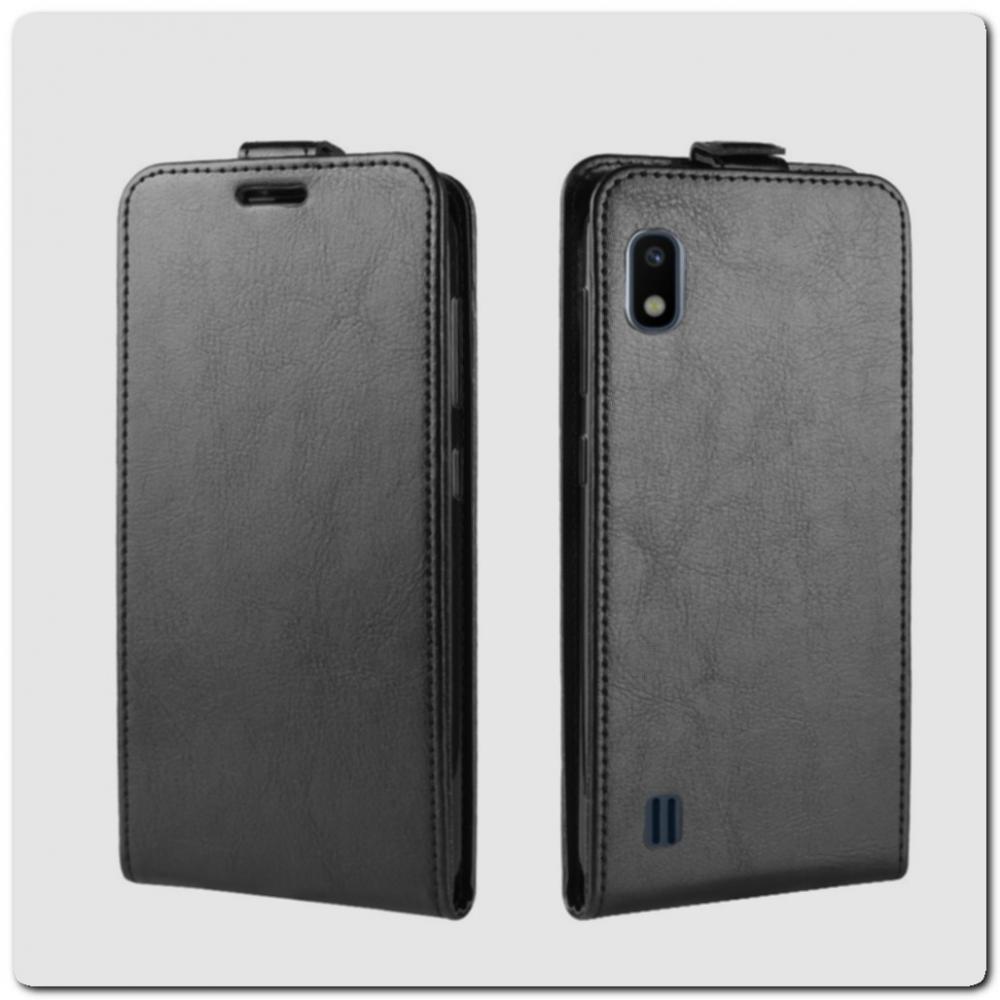 Вертикальный Чехол Книжка Флип Вниз для Samsung Galaxy A10 с карманом для карт Черный