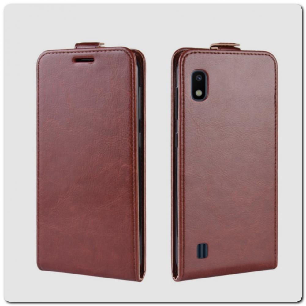 Вертикальный Чехол Книжка Флип Вниз для Samsung Galaxy A10 с карманом для карт Коричневый