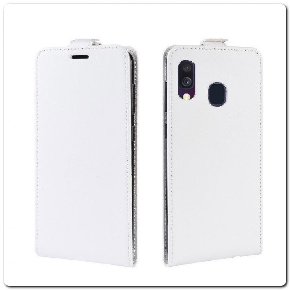 Вертикальный Чехол Книжка Флип Вниз для Samsung Galaxy A40 с карманом для карт Белый