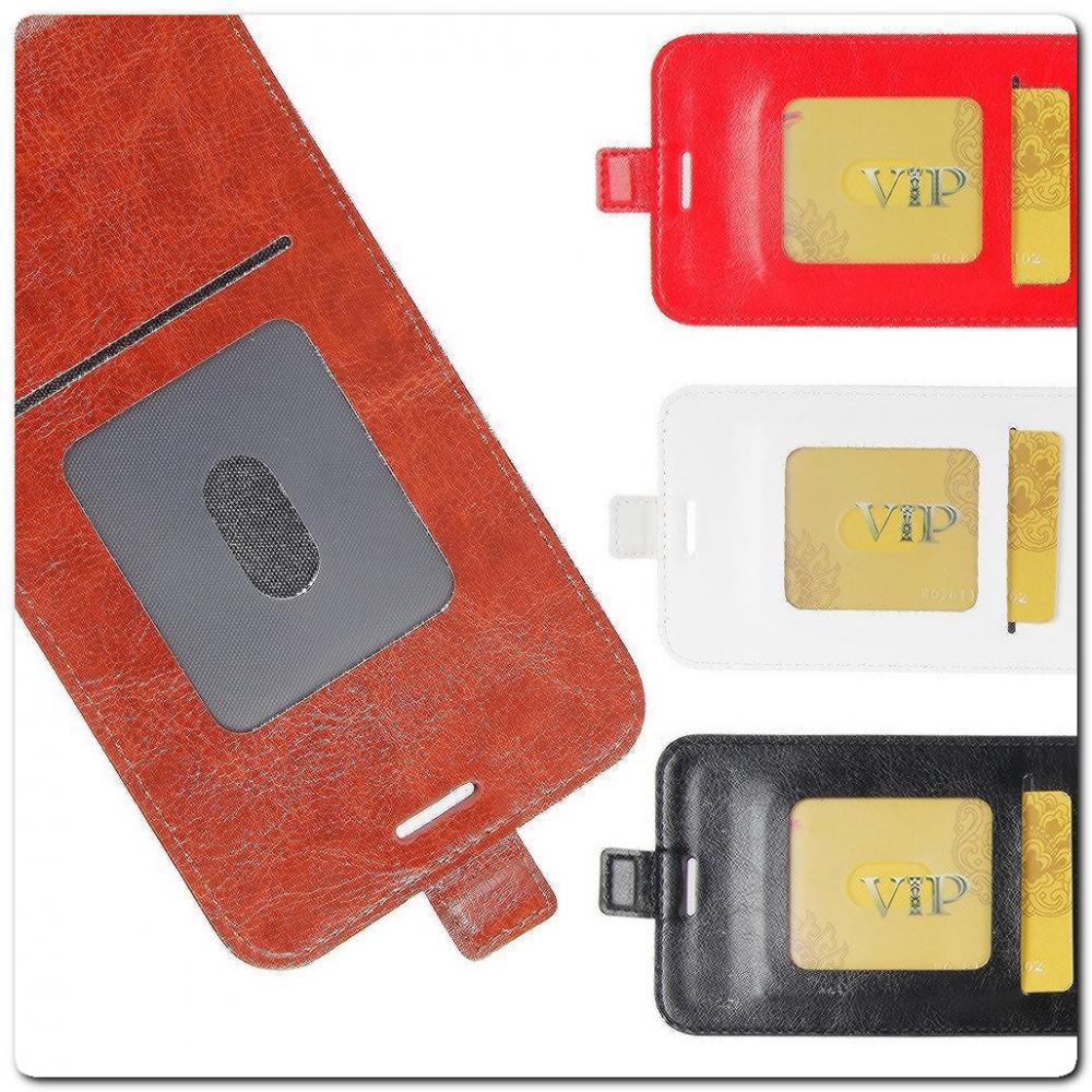 Вертикальный Чехол Книжка Флип Вниз для Samsung Galaxy A40 с карманом для карт Коричневый