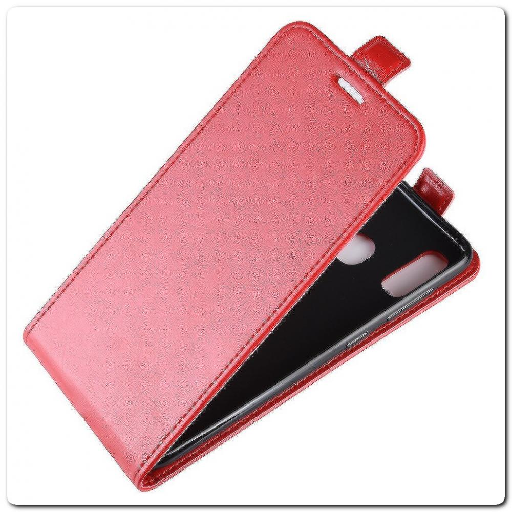 Вертикальный Чехол Книжка Флип Вниз для Samsung Galaxy A40 с карманом для карт Красный