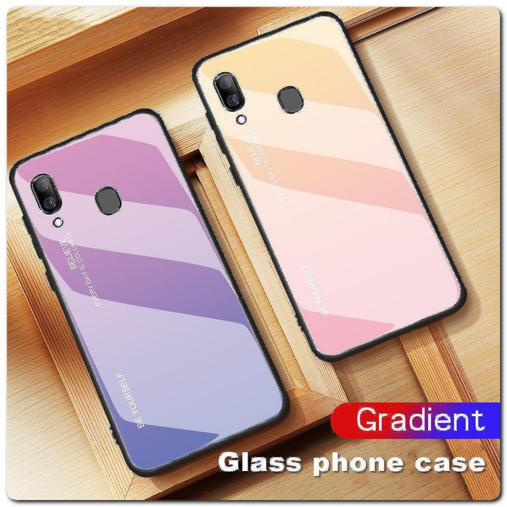 Защитный Чехол Gradient Color из Стекла и Силикона для Samsung Galaxy A30 / Galaxy A20 Розовый