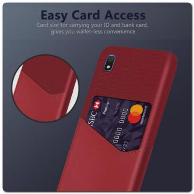 Гибридный Чехол для Задней Панели Телефона с Карманом для Карты для Samsung Galaxy A10 Красный