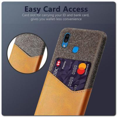 Гибридный Чехол для Задней Панели Телефона с Карманом для Карты для Samsung Galaxy A30 / Galaxy A20 Оранжевый