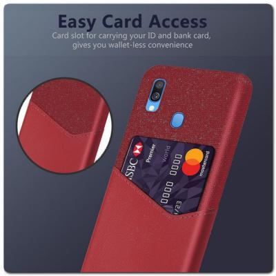 Гибридный Чехол для Задней Панели Телефона с Карманом для Карты для Samsung Galaxy A40 Красный