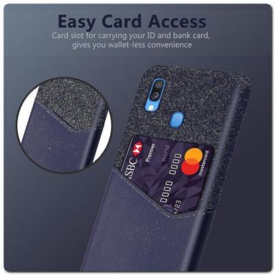 Гибридный Чехол для Задней Панели Телефона с Карманом для Карты для Samsung Galaxy A40 Синий