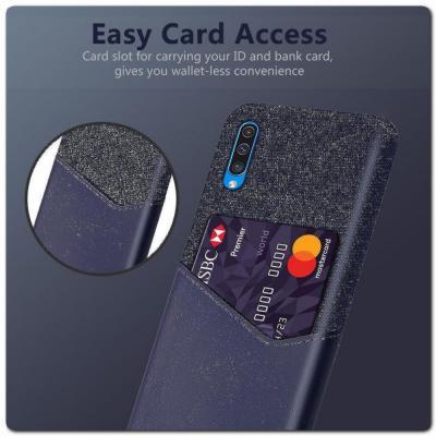 Гибридный Чехол для Задней Панели Телефона с Карманом для Карты для Samsung Galaxy A50 Синий