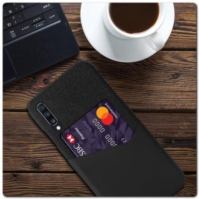 Гибридный Чехол для Задней Панели Телефона с Карманом для Карты для Samsung Galaxy A70 Черный