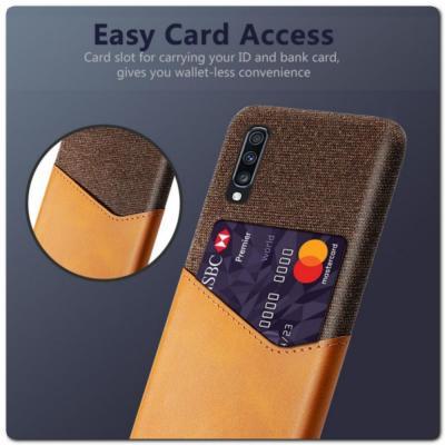 Гибридный Чехол для Задней Панели Телефона с Карманом для Карты для Samsung Galaxy A70 Оранжевый
