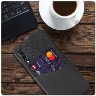 Гибридный Чехол для Задней Панели Телефона с Карманом для Карты для Samsung Galaxy A70 Серый
