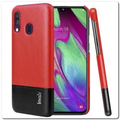 IMAK Ruiy PU Кожаный Чехол из Ударопрочного Пластика для Samsung Galaxy A40 - Красный / Черный