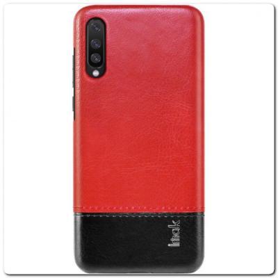 IMAK Ruiy PU Кожаный Чехол из Ударопрочного Пластика для Samsung Galaxy A70 - Красный / Черный