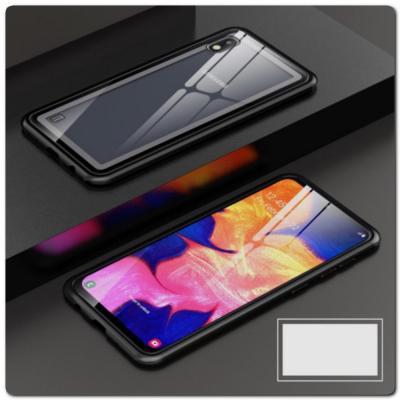 Магнитный Металлический Бампер Чехол для Samsung Galaxy A10 Стеклянная Задняя Панель Черный
