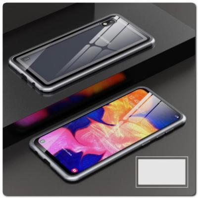 Магнитный Металлический Бампер Чехол для Samsung Galaxy A10 Стеклянная Задняя Панель Серебряный