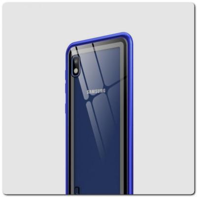 Магнитный Металлический Бампер Чехол для Samsung Galaxy A10 Стеклянная Задняя Панель Синий