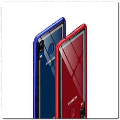 Магнитный Металлический Бампер Чехол для Samsung Galaxy A30 / Galaxy A20 Стеклянная Задняя Панель Красный