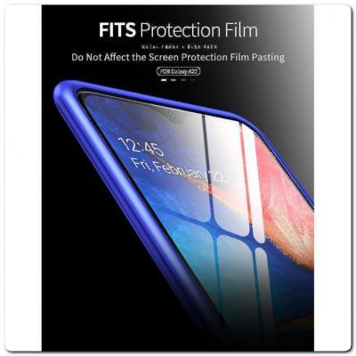 Магнитный Металлический Бампер Чехол для Samsung Galaxy A30 / Galaxy A20 Стеклянная Задняя Панель Черный