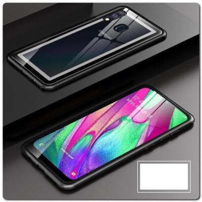 Магнитный Металлический Бампер Чехол для Samsung Galaxy A40 Стеклянная Задняя Панель Черный