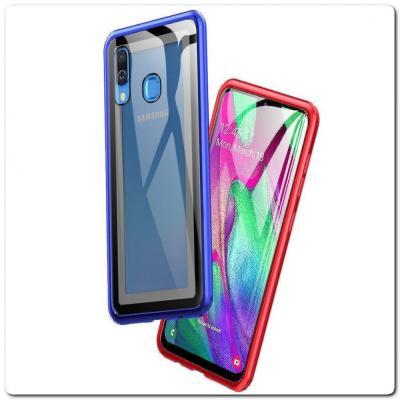 Магнитный Металлический Бампер Чехол для Samsung Galaxy A40 Стеклянная Задняя Панель Красный