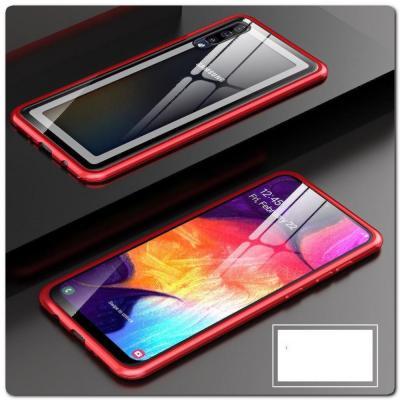 Магнитный Металлический Бампер Чехол для Samsung Galaxy A50 Стеклянная Задняя Панель Красный