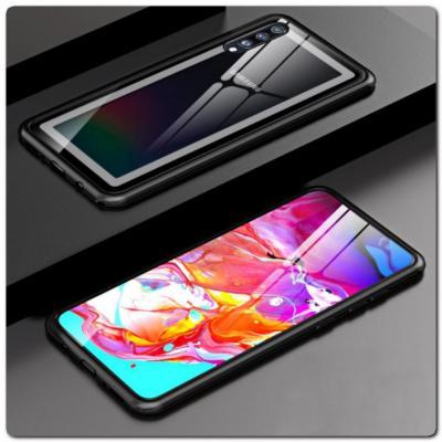 Магнитный Металлический Бампер Чехол для Samsung Galaxy A70 Стеклянная Задняя Панель Черный