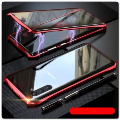Магнитный Металлический Бампер Чехол для Samsung Galaxy Note 10 Стеклянная Задняя Панель Красный