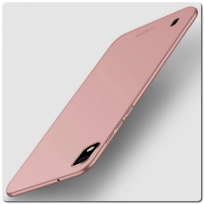 Матовый Ультратонкий Пластиковый Mofi Чехол для Samsung Galaxy A10 Ярко-Розовый