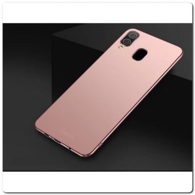 Матовый Ультратонкий Пластиковый Mofi Чехол для Samsung Galaxy A30 / Galaxy A20 Ярко-Розовый