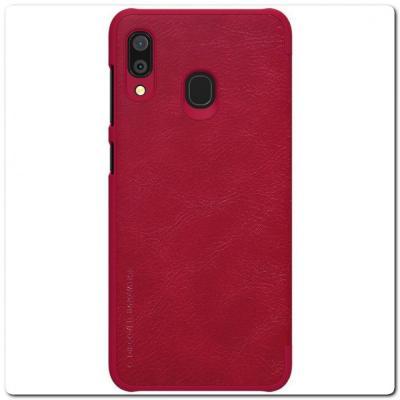 Nillkin Qin Искусственно Кожаная Чехол Книжка для Samsung Galaxy A30 / Galaxy A20 Красный