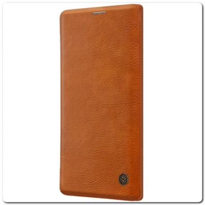 Nillkin Qin Искусственно Кожаная Чехол Книжка для Samsung Galaxy Note 10 Коричневый