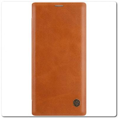 Nillkin Qin Искусственно Кожаная Чехол Книжка для Samsung Galaxy Note 10+ / Note 10 Plus Коричневый