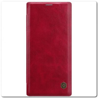 Nillkin Qin Искусственно Кожаная Чехол Книжка для Samsung Galaxy Note 10+ / Note 10 Plus Красный