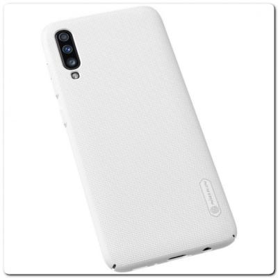 Пластиковый Кейс Nillkin Super Frosted Shield Чехол для Samsung Galaxy A70 Белый
