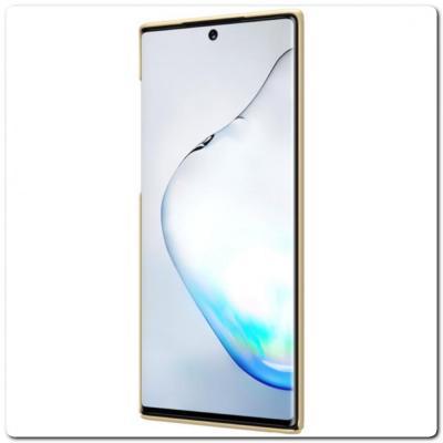 Пластиковый Кейс Nillkin Super Frosted Shield Чехол для Samsung Galaxy Note 10 Золотой