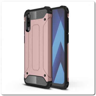 Противоударный Armor Guard Комбо Пластик + TPU Защитный Чехол для Samsung Galaxy A70 Ярко-Розовый
