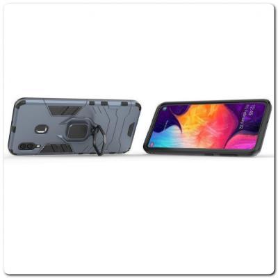 Противоударный Чехол Hybrid Ring с Кольцом для Samsung Galaxy A30 / Galaxy A20 и Металлической Пластиной для Магнитного Держателя Синий