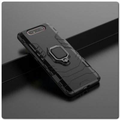Противоударный Чехол Hybrid Ring с Кольцом для Samsung Galaxy A80 и Металлической Пластиной для Магнитного Держателя Черный