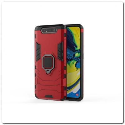 Противоударный Чехол Hybrid Ring с Кольцом для Samsung Galaxy A80 и Металлической Пластиной для Магнитного Держателя Красный
