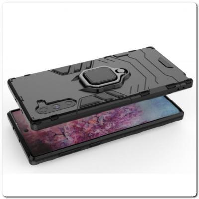 Противоударный Чехол Hybrid Ring с Кольцом для Samsung Galaxy Note 10 и Металлической Пластиной для Магнитного Держателя Черный