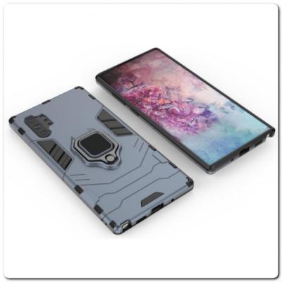 Противоударный Чехол Hybrid Ring с Кольцом для Samsung Galaxy Note 10+ / Note 10 Plus и Металлической Пластиной для Магнитного Держателя Синий