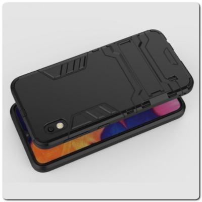 Противоударный Пластиковый Двухслойный Защитный Чехол для Samsung Galaxy A10 с Подставкой Черный
