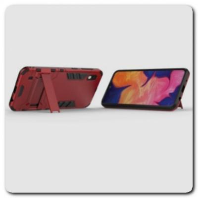 Противоударный Пластиковый Двухслойный Защитный Чехол для Samsung Galaxy A10 с Подставкой Красный